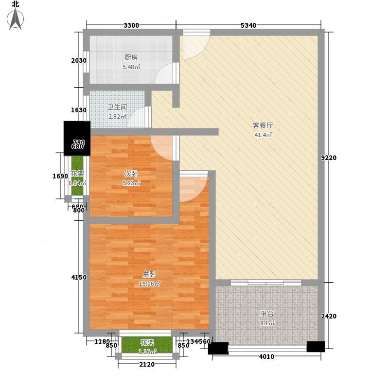 东城佳苑88.67㎡A3户型2室2厅1卫1厨
