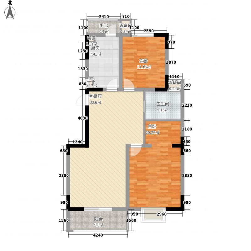 鸿泰湖滨公馆11.48㎡一期3号楼C2户型2室2厅1卫1厨