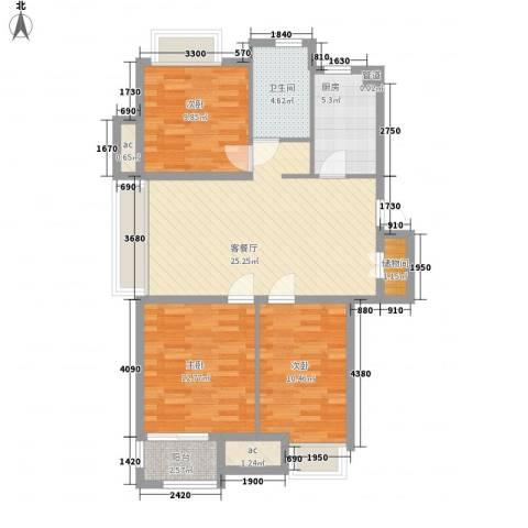 美林香颂3室1厅1卫1厨106.00㎡户型图