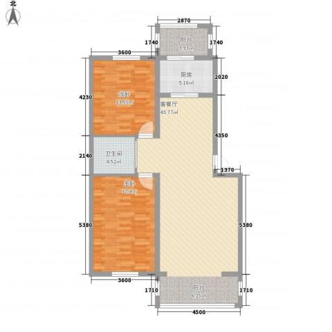 金色佳圆2室1厅1卫1厨124.00㎡户型图