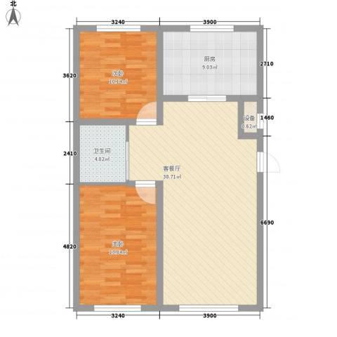 金色佳圆2室1厅1卫1厨97.00㎡户型图