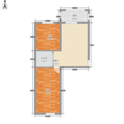 金色佳圆2室1厅1卫1厨82.00㎡户型图