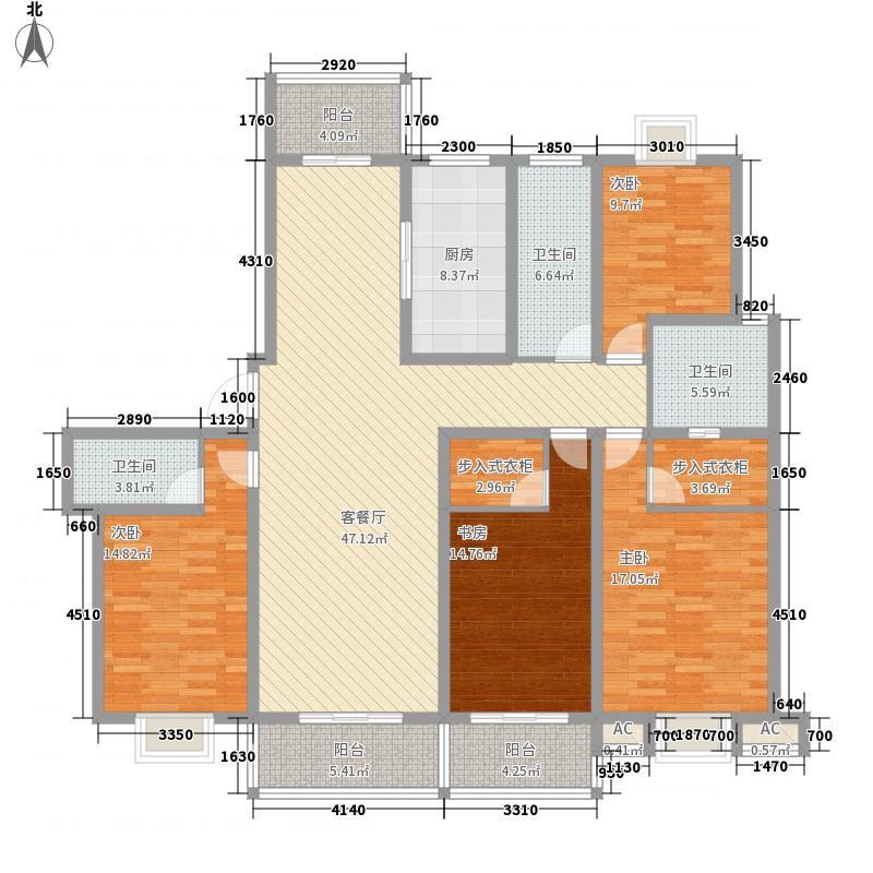 华兴瑞都国际215.54㎡一期31号楼标准层04户型4室2厅3卫1厨