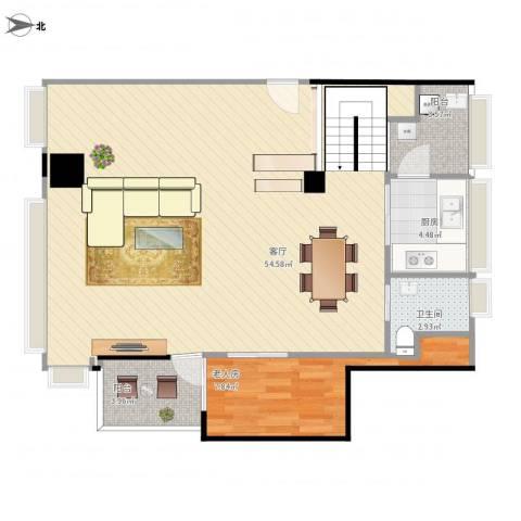 东方都会广场/1楼1室1厅1卫1厨105.00㎡户型图