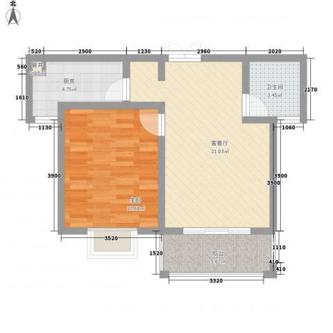 大华颐和华城1室1厅1卫1厨70.00㎡户型图