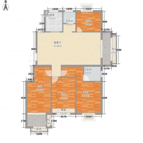 未来海岸4室1厅2卫1厨160.00㎡户型图
