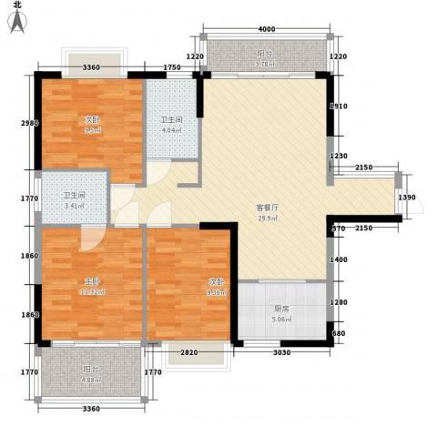 香江生态丽景3室1厅2卫1厨113.00㎡户型图