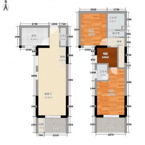 泰禾红树林3室1厅3卫1厨89.00㎡户型图
