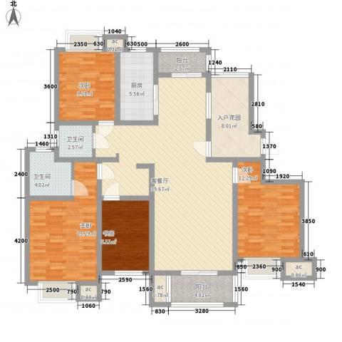 绿地国际花都4室1厅2卫1厨167.00㎡户型图