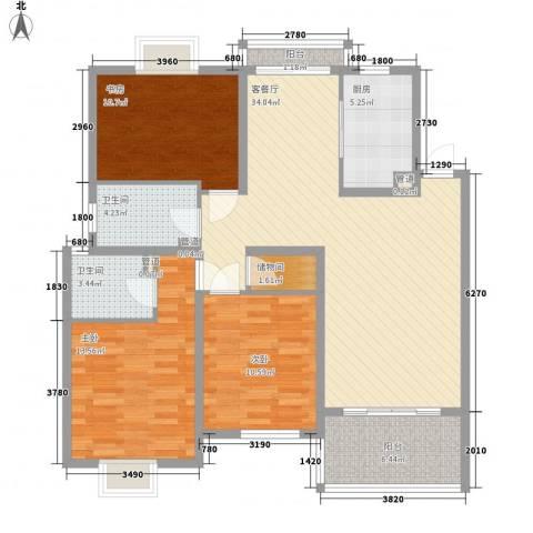 香江生态丽景3室1厅2卫1厨130.00㎡户型图