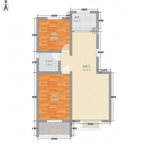 翡翠城2室1厅1卫1厨83.00㎡户型图