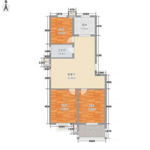 嘉禾・盛世豪庭3室1厅1卫1厨124.00㎡户型图