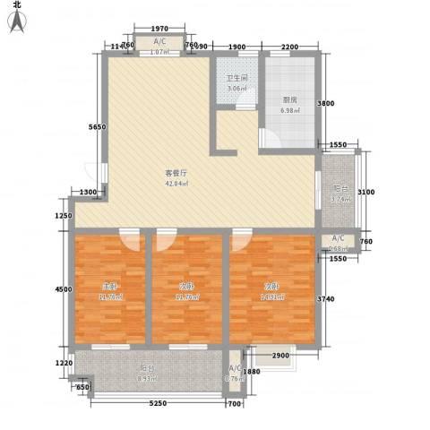 嘉禾・盛世豪庭3室1厅1卫1厨152.00㎡户型图