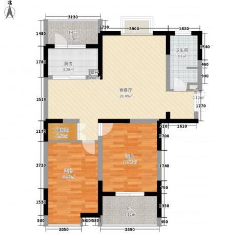 大华颐和华城2室1厅1卫1厨106.00㎡户型图