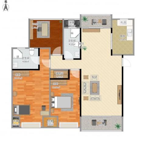 招商雍华府3室1厅2卫1厨134.00㎡户型图
