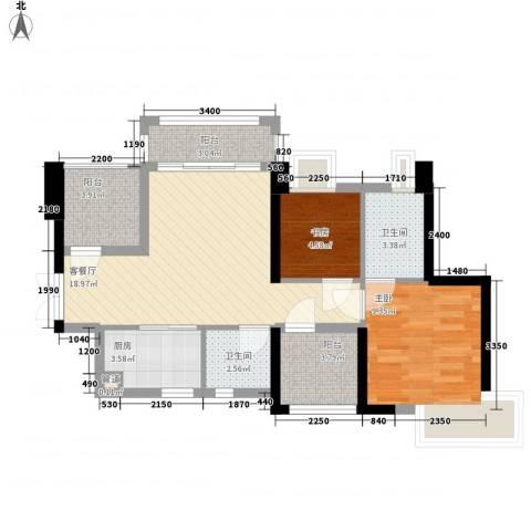 深业东城御园2室1厅2卫1厨88.00㎡户型图