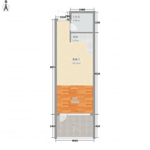远乡维也纳1厅1卫0厨64.00㎡户型图