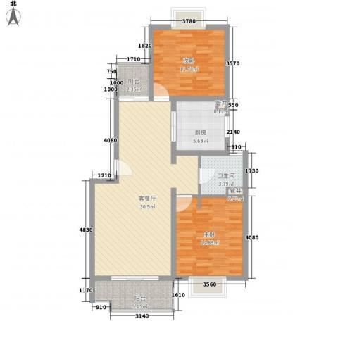 大华颐和华城2室1厅1卫1厨104.00㎡户型图