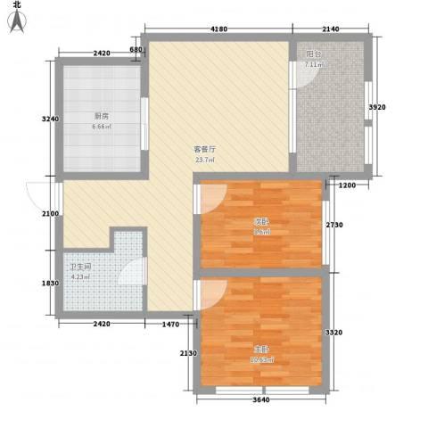 远乡维也纳2室1厅1卫1厨89.00㎡户型图