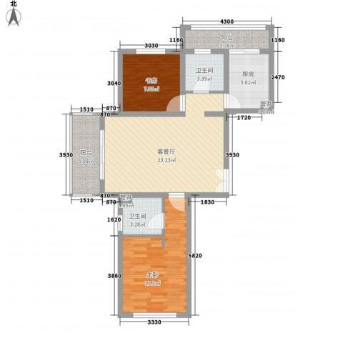 大华颐和华城2室1厅2卫1厨95.00㎡户型图