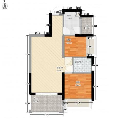 深业东城御园2室1厅1卫1厨72.00㎡户型图