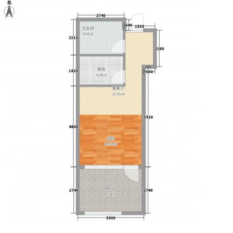 远乡维也纳1厅1卫1厨59.00㎡户型图
