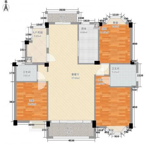 香江生态丽景3室1厅2卫1厨143.00㎡户型图