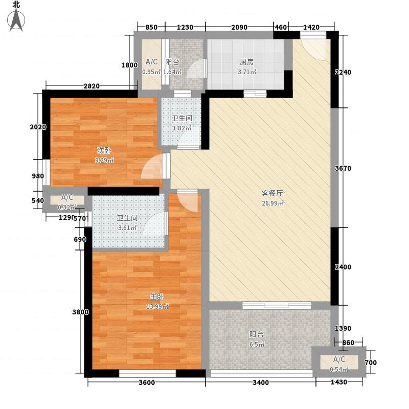 红枫岭88.50㎡户型2室