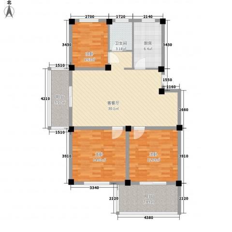 香江生态丽景3室1厅1卫1厨110.00㎡户型图