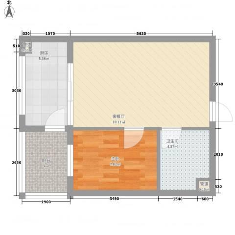 鼎源名座1室1厅1卫1厨57.00㎡户型图