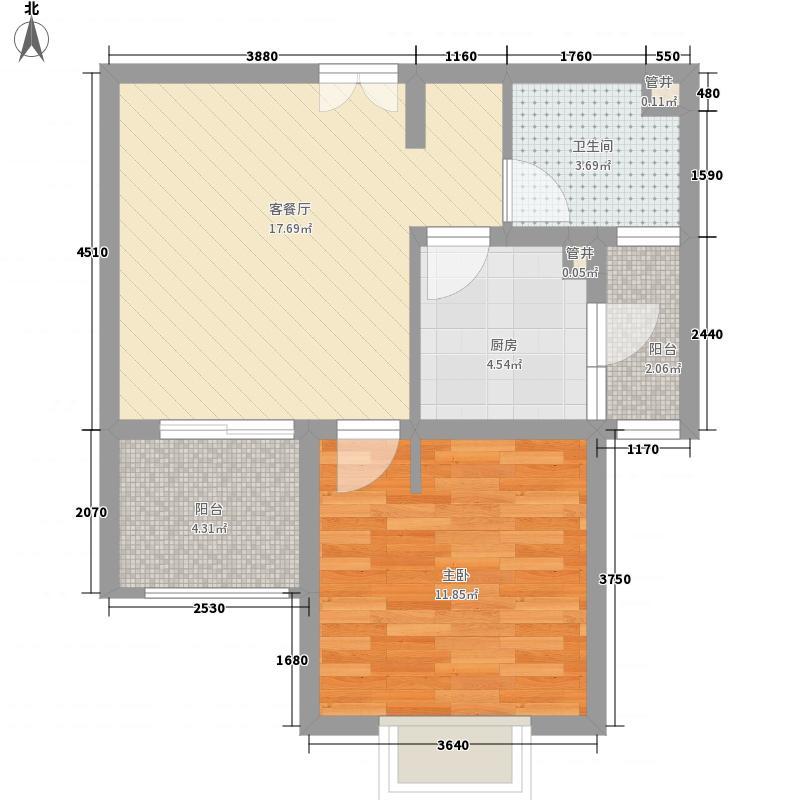 大华颐和华城65.00㎡户型1室2厅1卫