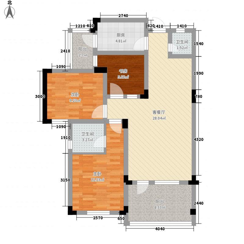 红枫岭84.35㎡1#地块A-2型户型3室2厅2卫1厨