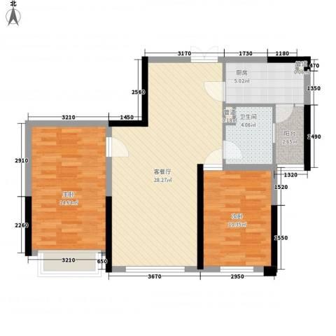 合正上东国际2室1厅1卫1厨91.00㎡户型图