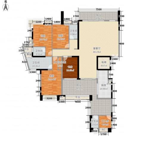 五洲花城二期4室1厅4卫1厨307.00㎡户型图