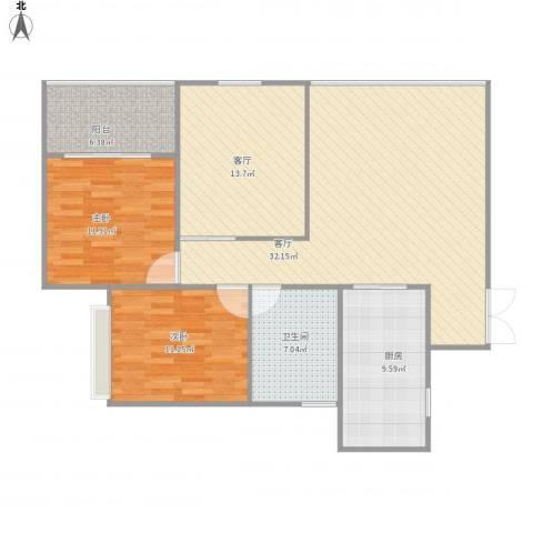 三金燕语庭2室2厅1卫1厨123.00㎡户型图