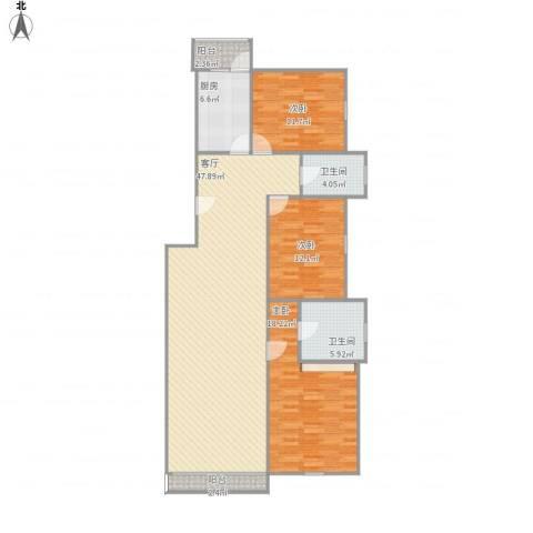 龙锦苑东三区3室1厅2卫1厨149.00㎡户型图