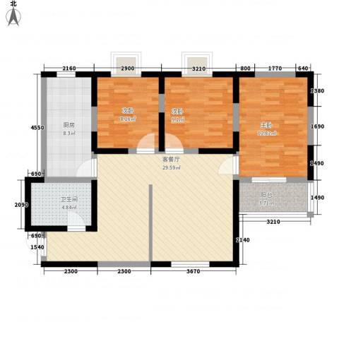 兴海苑3室1厅1卫1厨82.00㎡户型图