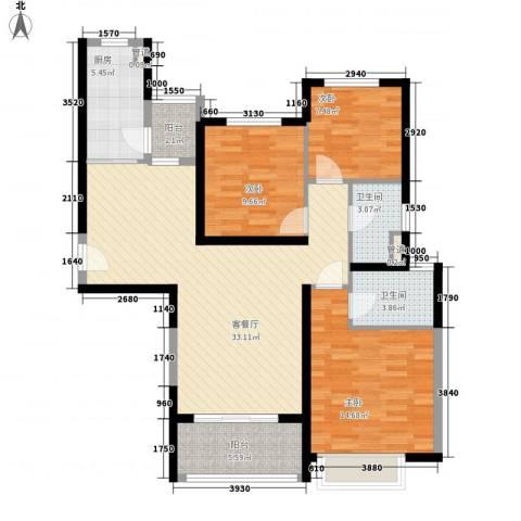 新余恒大城3室1厅2卫1厨122.00㎡户型图