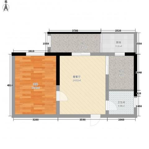 兴海苑1室1厅1卫1厨62.00㎡户型图