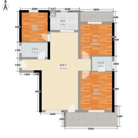 兴海苑3室1厅2卫1厨93.16㎡户型图