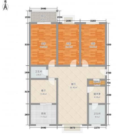 中润怡园3室2厅2卫1厨160.00㎡户型图