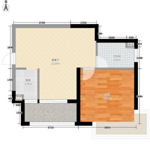 发能太阳海岸1室1厅1卫0厨62.00㎡户型图