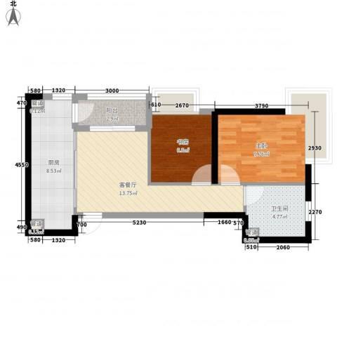 发能太阳海岸2室1厅1卫1厨68.00㎡户型图