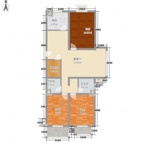 @时代爱特大厦3室1厅2卫1厨122.00㎡户型图