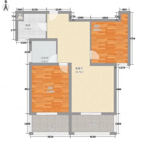 @时代爱特大厦2室1厅1卫1厨114.00㎡户型图