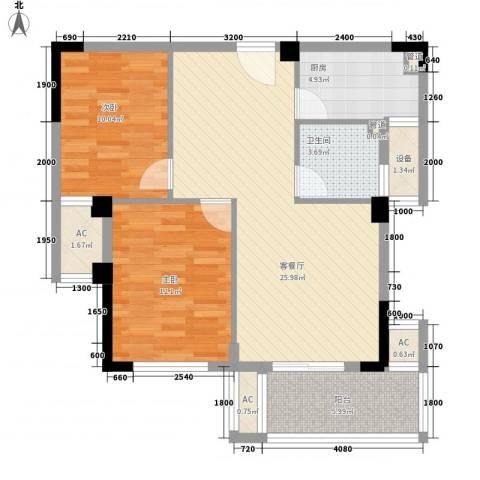 时代华府2室1厅1卫1厨87.00㎡户型图