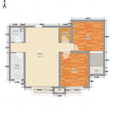 大有容园2室1厅1卫1厨89.00㎡户型图