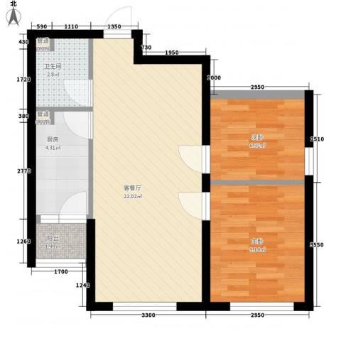 宝龙花苑2室1厅1卫1厨70.00㎡户型图