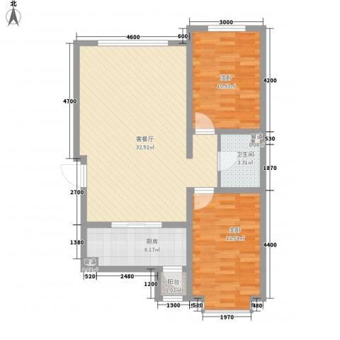 新华名座2室1厅1卫1厨67.05㎡户型图