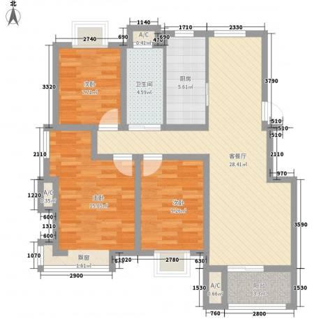 天泰茗仕豪庭3室1厅1卫1厨111.00㎡户型图